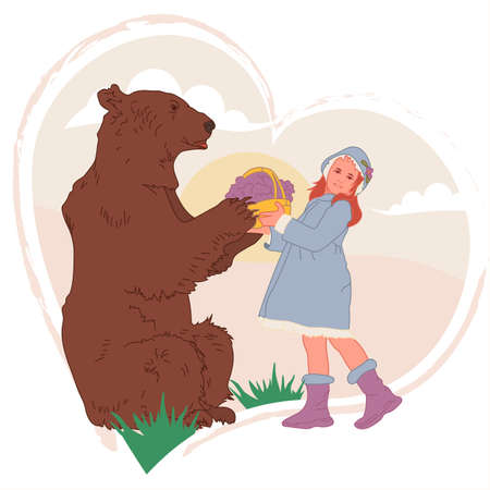The girl and the bear are holding a basket. Love. Vector illustration