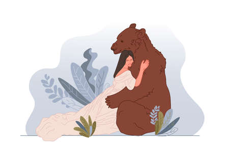 Fairy tale theme, vector illustration. A girl in the arms of a bear in the thicket of the forest. Holiday card, book illustration