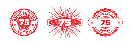 A group of 75 years anniversary logos drawn in the form of stamps, red frames for celebration. Grunge rubber stamp texture. Distressed texture stamp. Collection of postage stamps. Vector round stamps