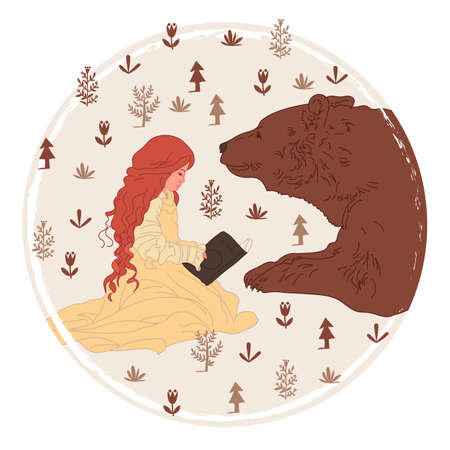 Fairy tale theme, vector illustration in a circle. A girl and a bear reading a book in the thicket of the forest. Holiday card, book illustration