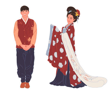 Beautiful smiling young man and girl in oriental, Asian, Chinese, national costume on a white background. Full length. Vector 向量圖像