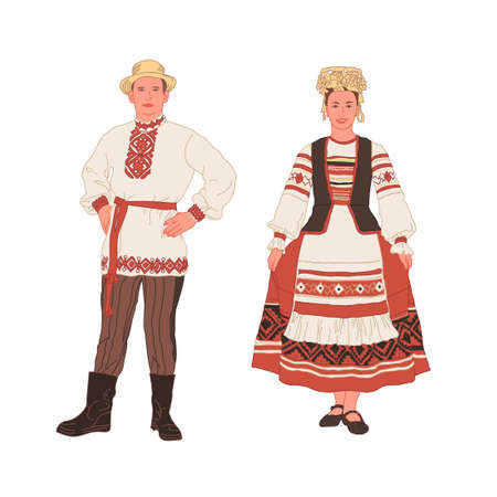 Handsome smiling young man and girl in Belarusian, Slavic, Russian national costume on a white background. Full length. Vector