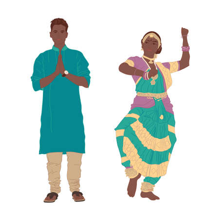Handsome smiling young man and girl in oriental Hindu national costume on a white background. Full length. Vector 向量圖像