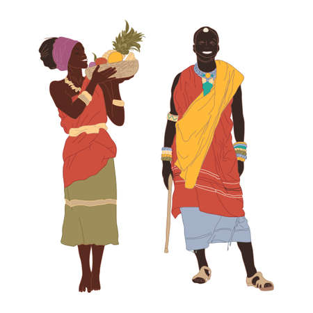Handsome smiling young man and girl in East African national costume on a white background. Full length. Vector