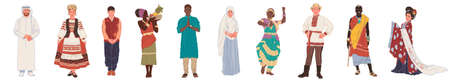 A group of people of different nationalities, in national costumes, isolated on a white background. Set of flat characters men and women. Vector illustration.