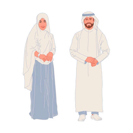 Beautiful smiling young man and girl in Arabic, Eastern Muslim national dress on a white background. Full length. Vector