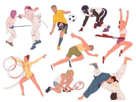 Set of vector illustrations of people involved in different sports. Isolated characters in a flat style.