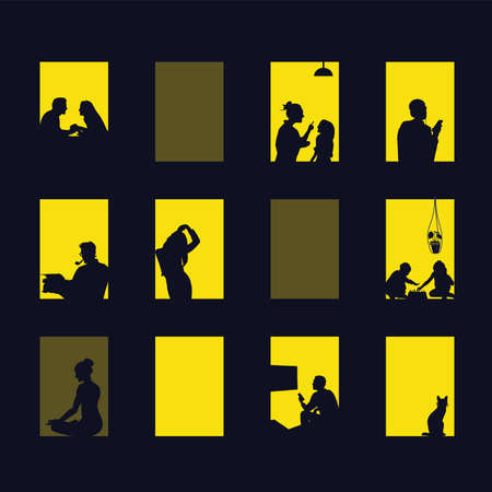 City windows at night. Vector illustration of apartment buildings with windows, in which there is a gap of silhouettes of people, girls, boys, toddlers, cats. The concept of diversity in different lif