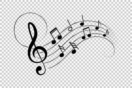 Music notes, musical design elements, isolated vector illustration
