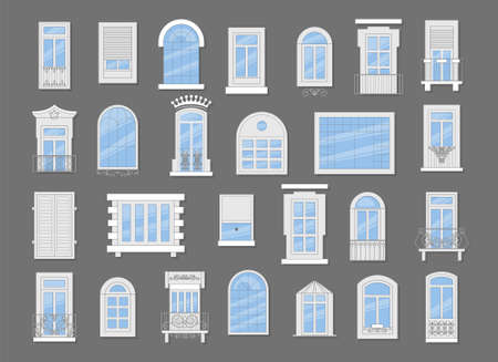 Windows with white frames set vector illustration. Various types of plastic windows collection. Interior and exterior elements