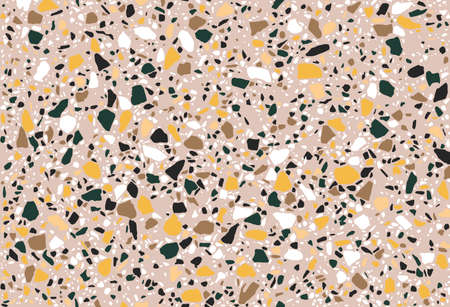 Seamless repeating terrazzo pattern in green, yellow, black and white on a pastel pink background. Trendy and stylish composite stone texture, wallpaper, web background, fabric design. 向量圖像