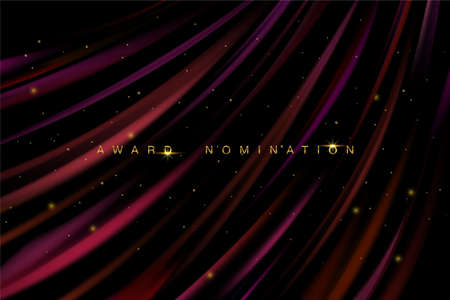Awarding the nomination ceremony luxury burgundy wavy background with golden glitter sparkles. Vector background