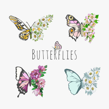Set of butterflies and flowers, floral design, chamomile, magnolias. Stationery, mug, t-shirt, phone case fashion slogan spring summer style sticker, etc. Fashionable design Swallowtail Metamorphosis
