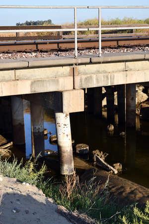 railroad bridge old pilon next to new ones