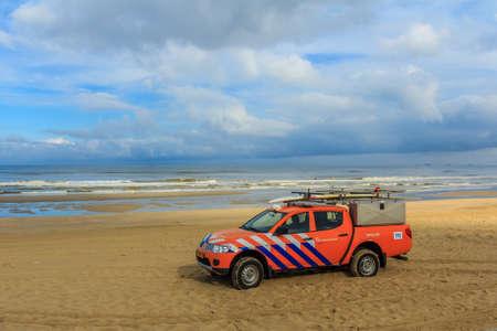 Kijkduin beach, the Netherlands - September 17, 2016: surf life saving vehicle on the beach
