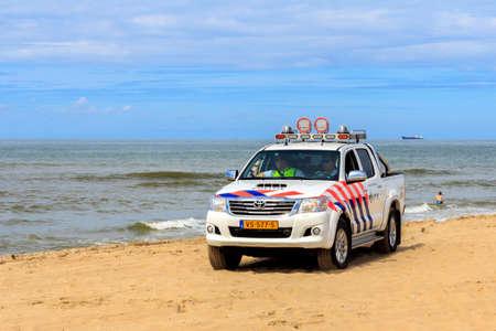 enforce: Kijkduin , the Netherlands - July 13, 2016: police beach patrol vehicle