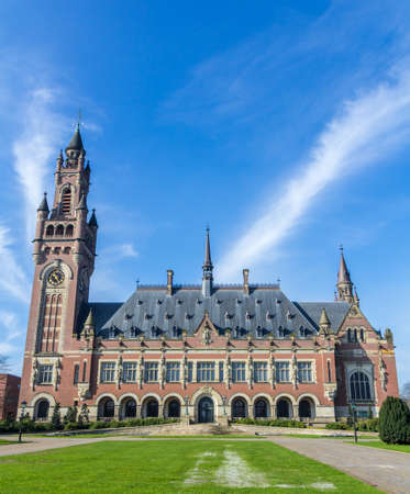the hague: The Hague, the Netherlands - March 23, 2017: Peace Palace in The Hague