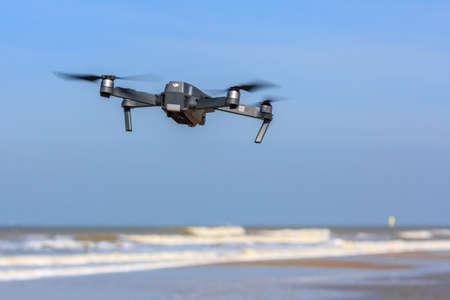 Kijkduin , the Netherlands - March 24, 2017: low flying drone UAV Editorial
