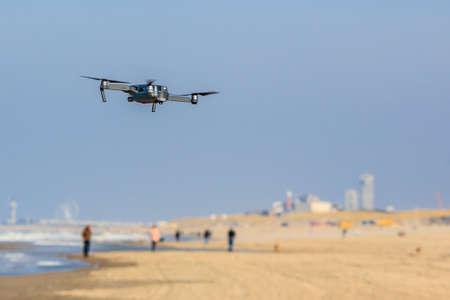 Kijkduin, the Netherlands - March 24, 2017: low flying drone UAV