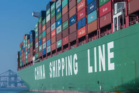 tonne: Rotterdam, the Netherlands - April 9, 2017: CSCL China Shipping Lines container ship in Rotterdam harbor