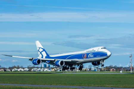 boeing 747: Amsterdam Schiphol Airport, the Netherlands - April 14, 2017:Air Bridge Cargo 747 aircraft landing at Amsterdam Schiphol Airport Editoriali