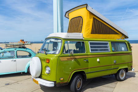 Scheveningen The Hague, the Netherlands - 21 May 2017: VW kombi van at the beach Editorial