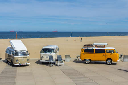 Scheveningen The Hague, the Netherlands - 21 May 2017: VW kombi vans at the beach
