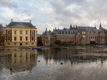 politic: The Hague, the Netherlands - 12 October, 2017: Mauritshuis museum and historic Binnenhof buildings in The Hague Editorial
