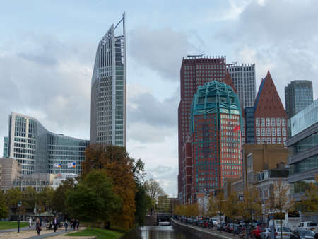 ministry: The Hague, the Netherlands - 12 October, 2017: the city of The Hague featuring old and new architecture buildings Editorial