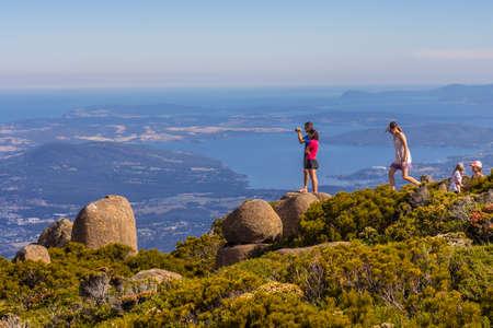 Mount Wellington, Hobart, Australia - 7 January 2017: the stunning summit of Mount Wellington overlooking Hobart and the south coast Editorial