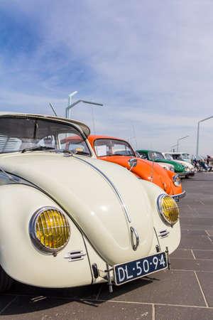 The Hague, the Netherlands - 21 May, 2017: VW classic beetle vehicles at Scheveningen beach car show