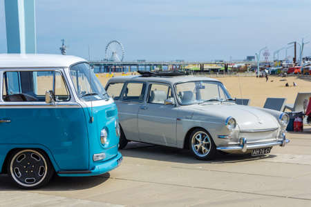 The Hague, the Netherlands - 21 May, 2017: VW classic vehicles at Scheveningen beach