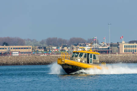 Rotterdam, the Netherlands - April 9, 2017: KRVE small fast pilot boat vessel at Hoek van Holland