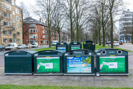 The Hague, the Netherlands - 25 January 2018: suburban recycling collection point for bottles, paper and plastic Editorial