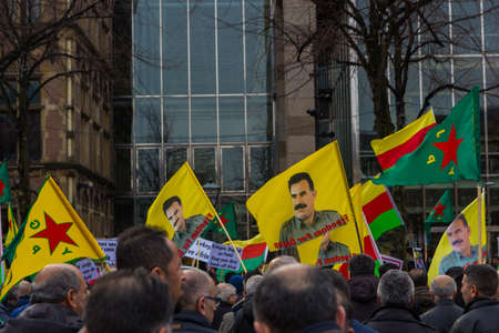 The Hague, the Netherlands - March 11 2018: Kurdish protest rally outside Dutch parliament demonstrating against Turkey and Turkish President Tayyip Erdogan