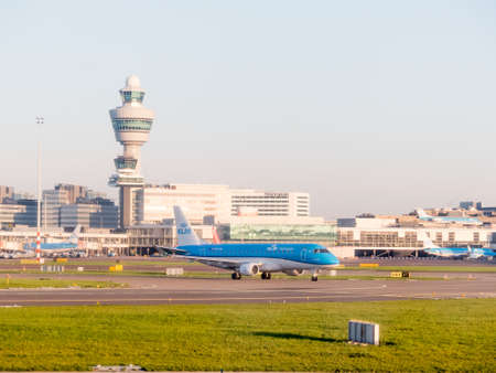 Schiphol Airport, the Netherlands - May 2 2018: KLM aircraft at Schiphol Airport the Netherlands,