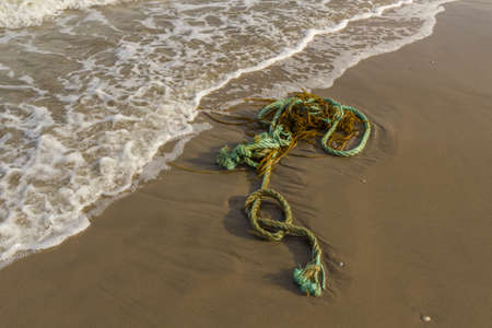 Plastic rope pollution littering the beach