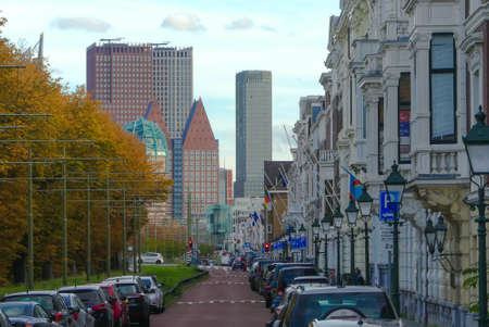 The Hague, the Netherlands - October 7 2018: street view of The Hague city skyline