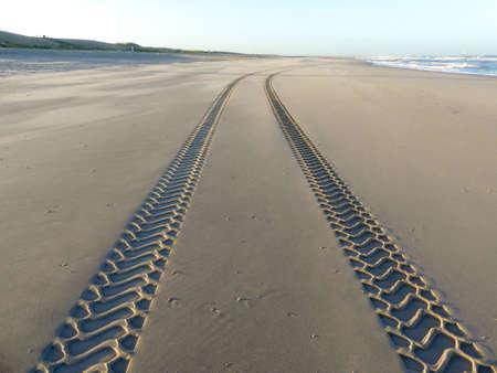 Tire tracks on smooth sandy deserted beach on sunny day with blue sky