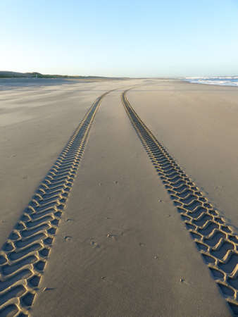 Tire tracks on smooth sandy deserted beach on sunny day with blue sky