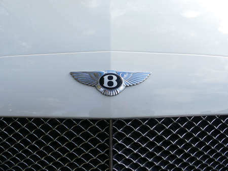The Hague, the Netherlands - November  11 2018: Bentley winged B badge on white background 報道画像