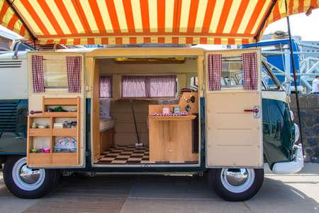 Scheveningen beach, the Netherlands - May 21, 2017: inside VW kombi camper wagen at Aircooled classic car show Editorial