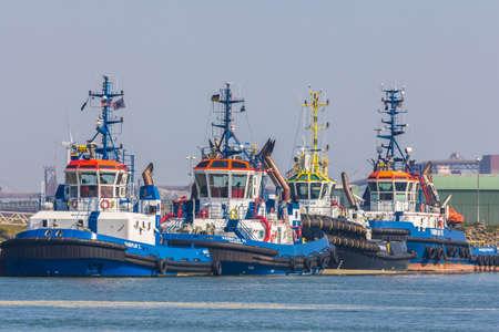 Hoek van Holland, the Netherlands - April 9 2017: tugboats docked at Hoek van Holland outside Europes largest port, Rotterdam Harbour, the Netherlands