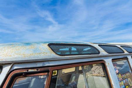Scheveningen beach, the Netherlands - May 21, 2017: VW kombi camper wagen close up at the beach at Aircooled classic car show