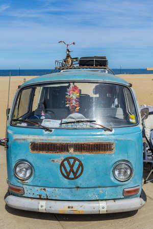 Scheveningen The Hague, the Netherlands - May 21 2017: VW kombi van at the beach Editorial