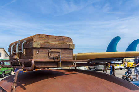 The Hague, the Netherlands - May 21, 2017: VW classic closeup of luggage on top of vintage VW beetle Editorial