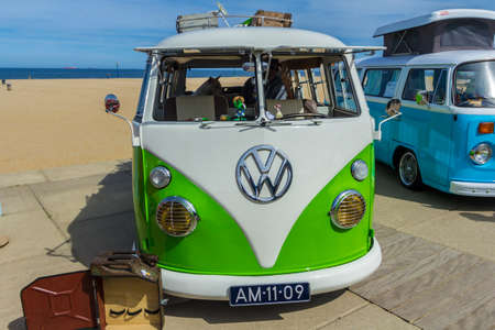 Scheveningen The Hague, the Netherlands - May 21 2017: VW kombi van at the beach 報道画像