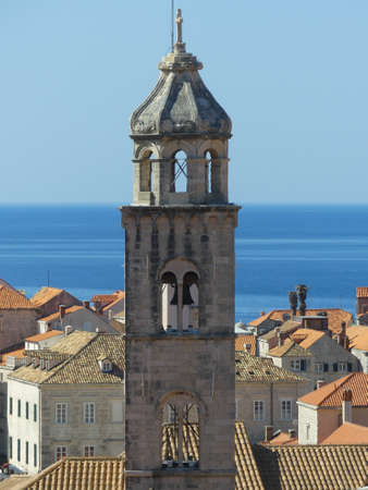 Dubrovnik, Croatia - August 4 2018: closeup of buildings inside fortified walls of Dubrovnik old town view from above
