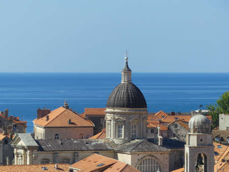 Dubrovnik, Croatia - August 4 2018: closeup of buildings inside fortified walls of Dubrovnik old town view from above Imagens - 115967586