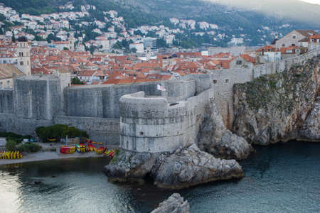 Dubrovnik, Croatia - August 4 2018: fortified walls of Dubrovnik old town view from above